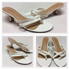 """white kitten heel sandals size 7.5W Cute thong style sandals with a 2.25"""" kitten heel. I thought I was buying a 7M, but they were not my size as I found out the first time I wore them. I wore them a few times on a cruise ship, but never outside. See picture 4, there are spots where the glue seeped out of under the foot bed. You can't see it when the shoes are on. Cabrizi Shoes Heels"""