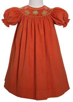 Smocked Fall Leaves Girls Bishop Dress Rowan for Thanksgiving – Carousel Wear