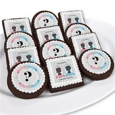 Gender Reveal - Personalized Party Brownie Favors.  Use coupon code: modern11 and save 11% #genderreveal #babyshowercookies #babyshower