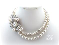Wedding Necklace Swarovski Pearl Swarovski by PureRainDesigns, $68.00