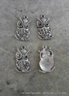 Antique Silver Alloy 38mm Owl Pendants         by CedarCreekCanada