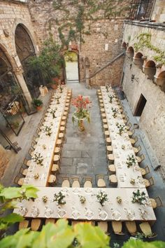 This would be cool if someone had a really huge courtyard area and have the tables set up like this for a wedding reception. Description from pinterest.com. I searched for this on bing.com/images