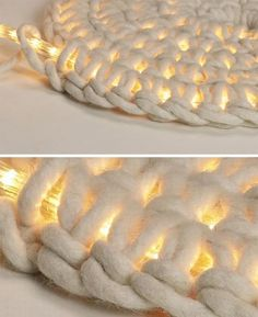 LED Carpet-Light: Secondly, just find a pattern for spiral crochet and do this around the LED strand. First round is without the light, and in the second round you start working around the lightstrand. You might like to make some t-shirt yarn for this, and use a HUGE crochet hook.
