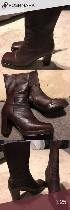 Leather Calf High Boots Brown Leather Calf High Boots, great condition, nice leather, perfect winter boot. Shoes Heeled Boots