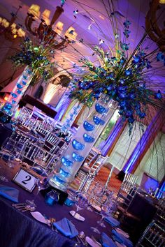 Blue Modern Bar Mitzvah Centerpieces with Orchids {A Magic Moment} - mazelmoments.com