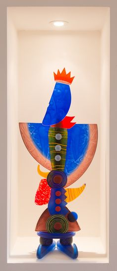 'Prince' art object Pawel Borowski H90cm - glasobject/gravures - 3.500,-
