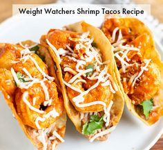Weight Watchers Shrimp Tacos Recipe: Only 3 WW SmartPoints! Jalapeno Salsa, Chipotle Sauce, Best Shrimp Taco Recipe, Healthy Shrimp Tacos, Shrimp Taco Recipes, Chicken Recipes, Ww Recipes, Mexican Food Recipes, Dinner Recipes
