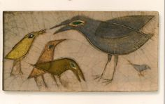 Raven Bird, Vintage Kitchenware, Wood Stone, Bird Cages, Modern Ceramics, Klimt, Ceramic Artists, Bird Art, Line Drawing