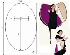 DIY Vest Pattern for making your own oval vest Long Vest pattern from in-RHED-ando chalina circular no-sew jacket circle coat Un ovale qui devient gilet capa ovalada patron Lower armholes to make collar longer for sleeves Diy Clothing, Sewing Clothes, Clothing Patterns, Dress Patterns, Sewing Patterns, Crochet Patterns, Sewing Tutorials, Sewing Hacks, Sewing Crafts