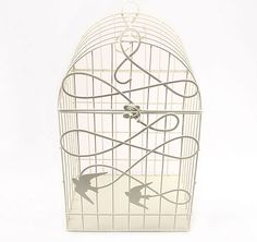 Modern Decorative White Birdcage with Birds in Flight #theweddingoutlet