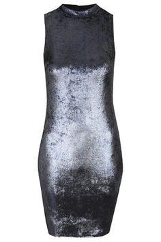 Online Exclusive High Neck Velvet Bodycon Dress - TOPSHOP