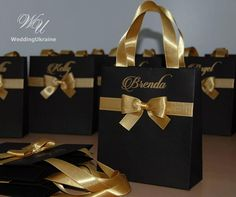 Black and Gold Brides Gift Bag Personalized Bridal Party favors Bags Bridesmaids Gifts Wedding Welcome Bag with satin ribbon, bow and names Bridesmaid Gift Bags, Wedding Gift Bags, Wedding Favor Boxes, Unique Wedding Favors, Party Favor Bags, Wedding Souvenir, Destination Wedding Welcome Bag, Wedding Welcome Bags, Bachelorette Party Favors