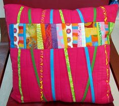 Fibermania: Busy Bits  i really like the sweetness of this pillow.  very girly.
