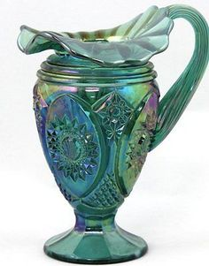 Fenton Art Glass Spruce Green Carnival Hobstar Pitcher 1999 #6869 SI Crimped Rim