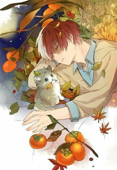 Todoroki Shouto, cat, neko, cute, sleeping, tomatoes; My Hero Academia