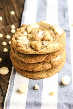 Thick, soft and chewy white chocolate and macadamia nut cookies.