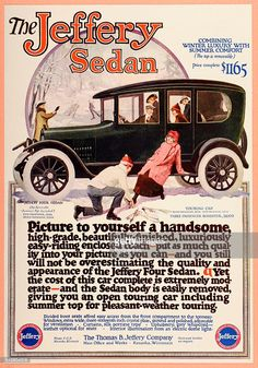 A vintage illustration advertising the Jeffery Sedan motorcar, manufactured by the Thomas B Jeffery Company of Kenosha, Wisconsin, and featuring a group of young people preparing to go ice skating on a frozen pond, circa 1915.