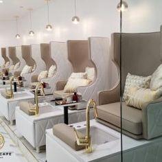 Luxury Nail Salon, Hair Salon Interior, Nail Salon Design, Nail Salon Decor, Nail Salon Furniture, Spa Room Decor, Beauty Room Decor, Beauty Salon Decor, Beauty Salon Design