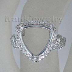 Trillion Cut 12mm Solid PT900 Diamond Engagement Semi Mount Wedding Ring SR156 #frankjewelry #Band
