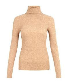Camel Ribbed High Neck Top | New Look