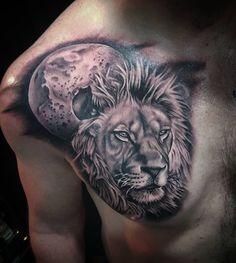 "dermaldelights_tattoo: ""Today! Cheers craig  #tattoos #tattoo #tattooart #blackandgrey #blackandgreytattoo #l4l #f4f #pooletattoo #bournemouthtattoo #dorsettattoo #uktattoo #lion #liontattoo #liontattoos #moontattoo #moonandstars #chesttattoos #chesttattoo #followme #dermaldelightstattoo"""