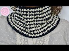 Cuello a crochet en punto arroz en dos colores, paso a paso - YouTube