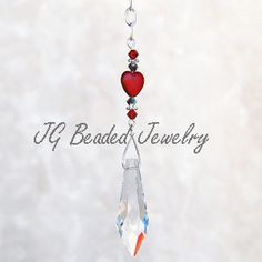 Crystal Suncatcher with Red Glass Heart and Swarovski Crystals #heart #crystal #suncatcher #prism #ornament