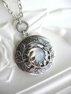 SALE Moonlit Forest LOCKET, Enchanted Forest Locket, Antique Locket, Moon, Moon Jewelry, Leafy Branch