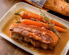 Braised Pork Belly Recipe ▼ Ingredients (Serves: Pork belly 400 g Salt 5 g 2 carrots 1 onion 1 piece of garlic white wine water Bay leaf, Thyme. Braised Pork Belly, Pork Belly Recipes, French Food, Meatloaf, Main Dishes, Steak, Sushi, Turkey, Recipes