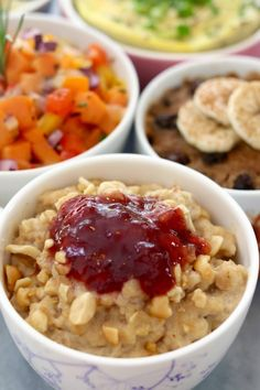 Microwave Peanut Butter and Jelly Oatmeal in a Mug- A healthy way to start your day. Make them up the night before and have hot breakfast in minutes
