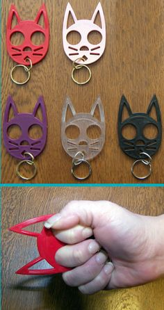 "Self Defense Kitty Key Chains. ""Well, he attacked me, so I stabbed him with my kitty-cat keychain."""