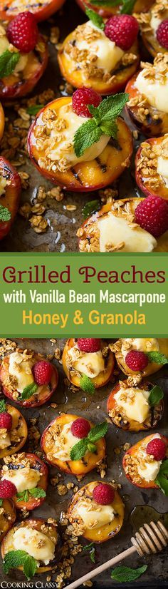Grilled Peaches with Vanilla Bean Mascarpone, Honey and Granola - quick, easy and seriously delicious dessert! Will make them again and again this summer!