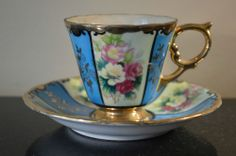 ROYAL SEALY CHINA OPALESCENT RARE BLUE PANELED FOOTED TEA CUP & SAUCER #V