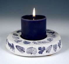 Large Candleholder blue leaf от botanicraft на Etsy, $18.00