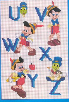 sandylandya@outlook.es  Pinocchio ABC's Cross Stitch Letters, Cross Stitch For Kids, Cross Stitch Baby, Disney Cross Stitch Patterns, Counted Cross Stitch Patterns, Cross Stitch Embroidery, Stitch Disney, Stitch Character, Book Markers