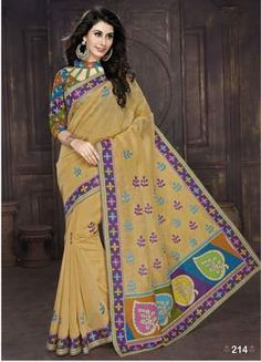 Fashionable Beige Colored Embroidered Blended Cotton Saree Cotton Sarees on Shimply.com