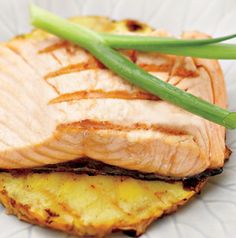 Accent the pineapple flavor in the marinade in this Grilled Asian Salmon Fillets by serving it on grilled pineapple slices.