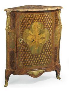A LATE LOUIS XV ORMOLU-MOUNTED TULIPWOOD, KINGWOOD, MARQUETRY AND PARQUETRY ENCOIGNURE BY LEONARD BOUDIN, CIRCA 1765