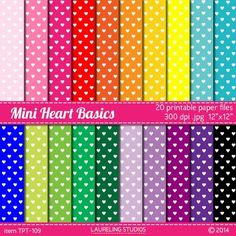 """digital paper:  """"mini heart basics""""Little hearts look so pretty on this digital paper in a rainbow of color choices. Use for Valentine's Day and all year round!Print out for crafts, scrapbooks, bulletin boards, or to decorate book covers.  Use with your favorite editing software to create digital products for personal or classroom use.YOU'LL RECEIVE:20 12""""x12"""" .jpg files300 dpi for excellent print resultsDesigned for print, convert to 72dpi for optimum web useCOLORS:color palette designed…"""