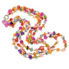 Coral #Necklace, with #Crystal, brass spring ring clasp  http://www.beads.us/product/Coral-Necklace_p240702.html?Utm_rid=194581