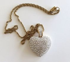 Swarovski Pave Heart Pendant-Vintage Necklace Pave Crystals