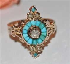 Amazing ANTIQUE VICTORIAN 14K GOLD Diamond SEED TURQUOISE PEARL RING