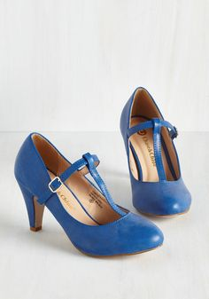 From A to Chic Heel in Cerulean - Mid, Blue, Solid, Work, Daytime Party, Vintage Inspired, Faux Leather, Variation, 40s
