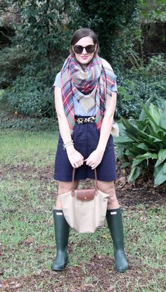 Plaid Blanket Scarf and Green Hunter Boots via With Style and a Little Grace
