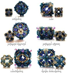 Blue Ionic Polyhedra: 12 Beaded Beads in Two Sizes 12 beads, longest diameter ranges from 11 mm to 33 mm Bead weaving with crystal, glass and metal beads, and thread