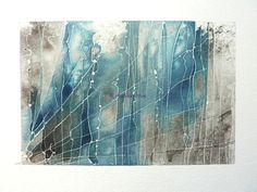 Original abstract art, a mixed media study with watercolour inks in black and blue.
