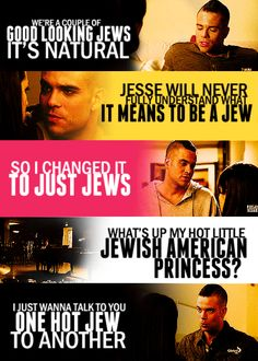Puck and Rachel with puck pointing out their Jewishness Glee Puck, Noah Puckerman, Finn Glee, Mark Salling, Glee Quotes, Glee Club, Still Love You, Best Shows Ever, Favorite Tv Shows