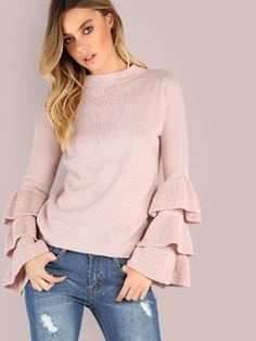 Online shopping for Pink Layered Ruffle Sleeve Pullover Sweater from a great selection of women's fashion clothing & more at MakeMeChic.COM.