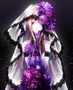 Tags: Anime, Drugstore04, Veil, Wedding Dress, Beautiful Eyes, Lace, Purple Flower