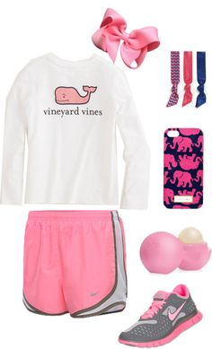 Untitled #48 by royle-devin featuring an emi jay ❤ liked on PolyvoreNIKE  sportswear / NIKE  shoes / Lilly Pulitzer  / Hair bow / Emi-Jay emi jay / Eos  / Girls T-Shirts: Long-Sleeve Logo Tee for Girls – Vineyard Vines